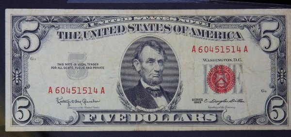 11: 1963 $5.00 Lincoln Red Seal Bill PM1017
