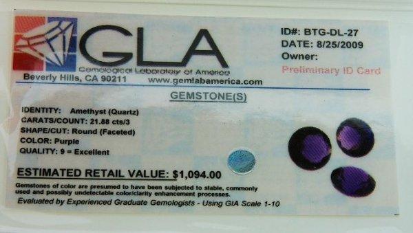 17: Amethyst Parcel 3 Gemstones 21.88cts DL27