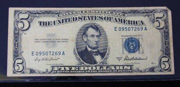20: 1953 $5.00 Lincoln Silver Certificate PM424