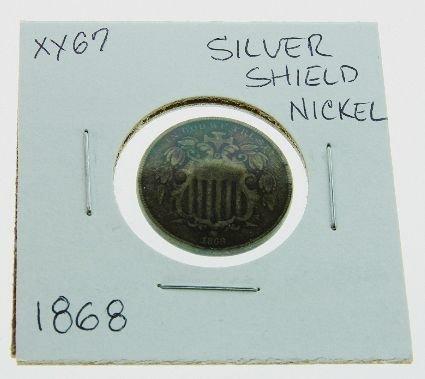 22: 1868 Silver Shield Nickel XX67