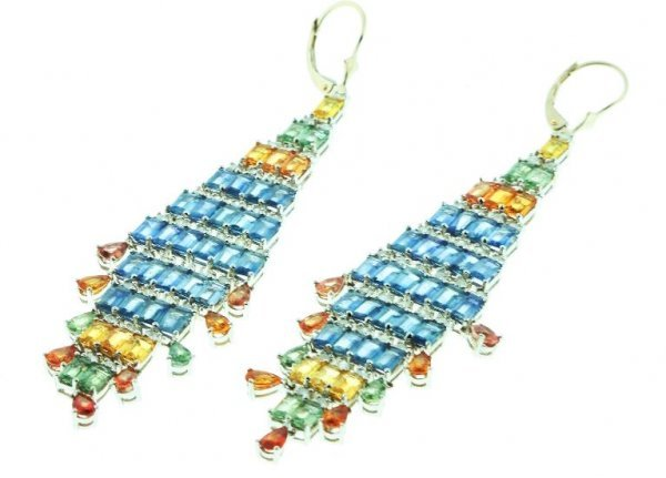 548: Ladies Sapphire Diamond Earrings 25.40ctw DG65A