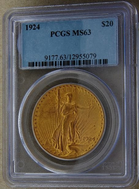 576: 1924 Saint Gaudens $20 Gold Coin MS63 GCDF185