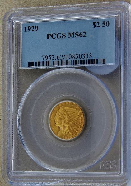 273: 1929 Indian Head $2.5 Gold Coin MS62 GCDF173