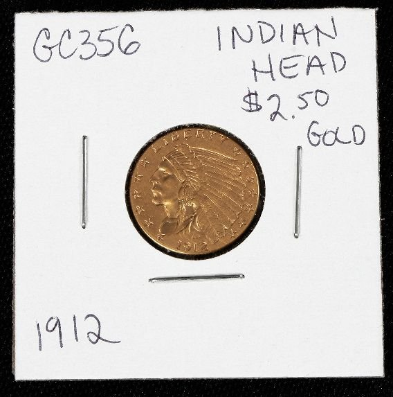 2: 1912 Indian Head $2.50 Gold Coin GC356
