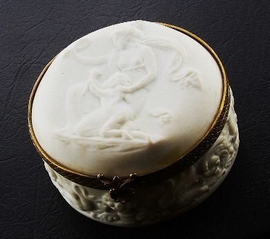 1: Antique c. 1900 Limoge Power Puff Jar