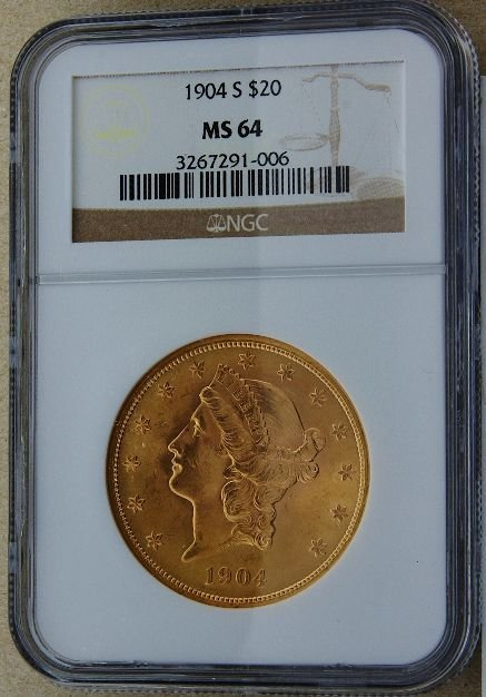 55: 1904 Liberty Head $20 Gold Coin MS64 GCDF182