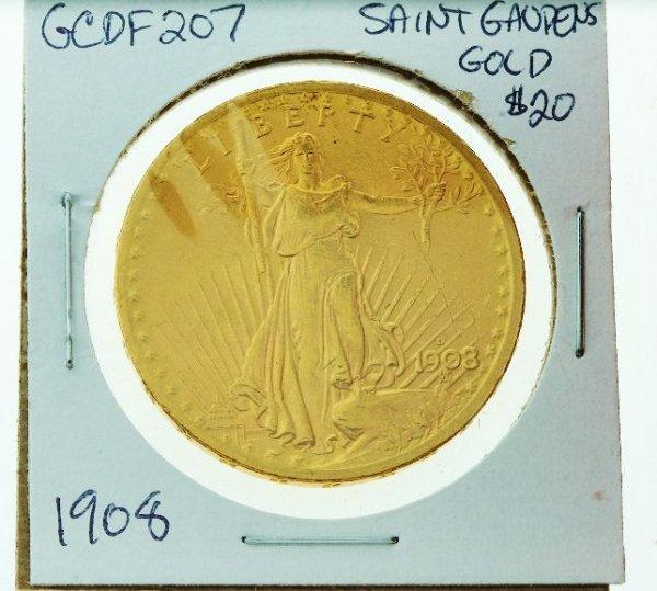 366: 1908-D No Motto Saint Gaudens $20 Gold Coin GCDF20