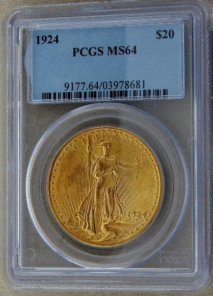 495: 1924 Saint Gaudens $20 Gold Coin MS64 GCDF188