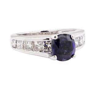 3.00 ctw Synthetic Sapphire And Diamond Ring - 14KT