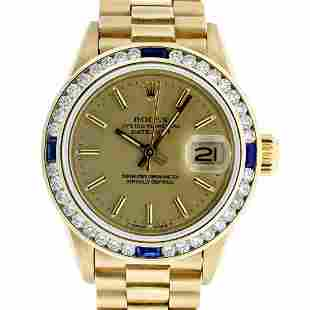 Rolex Ladies 18K Yellow Gold Sapphire And Champagne