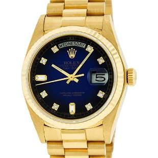 Rolex Mens 18K Yellow Gold Blue Vignette Diamond