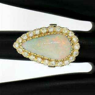 Vintage French 14k Gold 4.95 ctw Elongated Pear Opal &