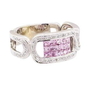 1.03 ctw Pink Sapphire And Diamond Ring - 14KT White