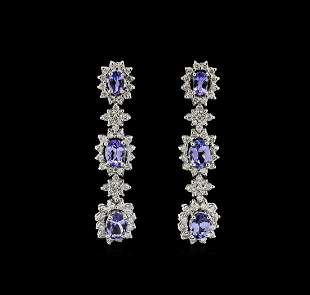 4.48 ctw Tanzanite and Diamond Earrings - 14KT White