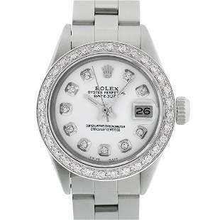 Rolex Ladies Stainless Steel White Diamond 18K Gold