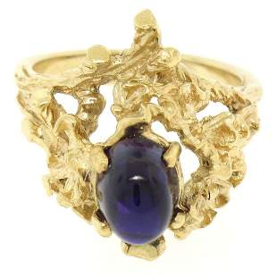 Estate 14kt Yellow Gold 1.98 ctw Amethyst Coral Reef