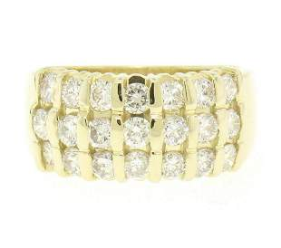 14kt Yellow Gold 1.48 ctw Bar Set Round Diamond Wide