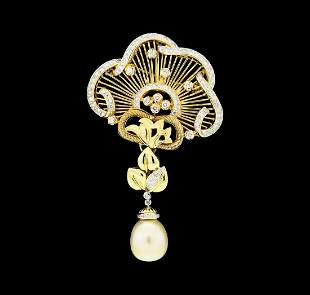 2.65 ctw Diamond and Pearl Pendant-Pin - 18KT Yellow