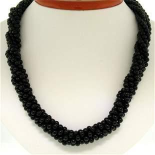 14k Gold Long Multi Strand Black Onyx Necklace w/