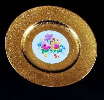 8: Antique Gold Filigree Royal China Floral Plate