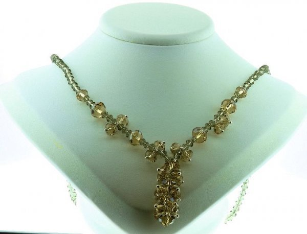 10: Beautiful Champagne Crystal Necklace CN1