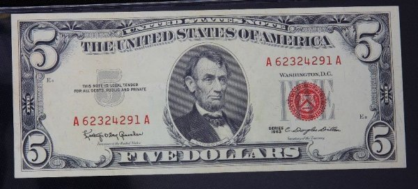 13: 1963 $5.00 Lincoln Red Seal Bill PM1018
