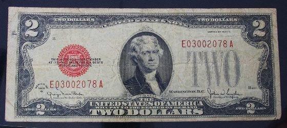 16: 1928 $2.00 Jefferson Red Seal Bill PM203