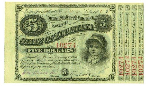 20: 1871 $5.00 State of Louisiana Bill PM12