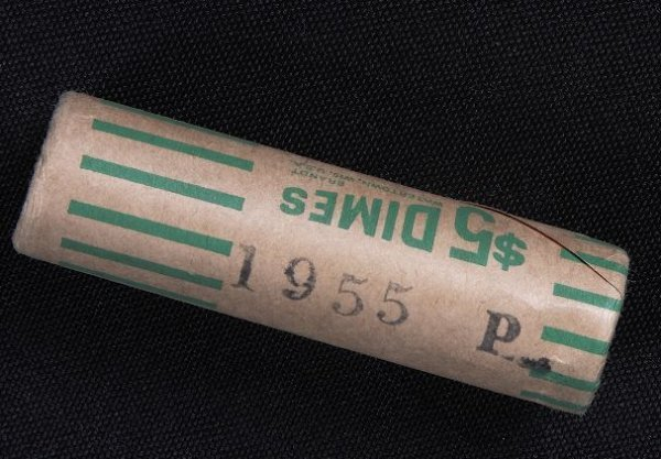 11: Unopened Original Wrapper Bank $5 Roll of 1955 Silv