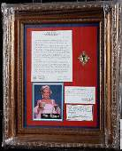 260: Marilyn Monroe Piece of Hair Framed Display