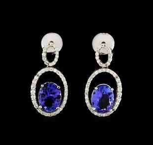 3.58 ctw Tanzanite and Diamond Earrings - 14KT White