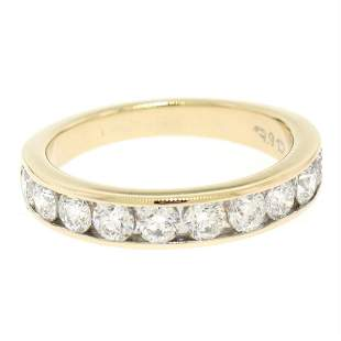14k Yellow Gold 1.05 ctw Round Diamond Band Ring