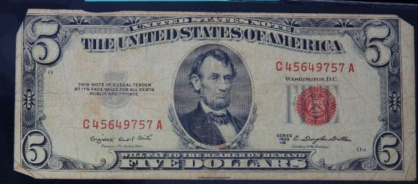 6: 1953 $5.00 Lincoln Red Seal Bill PM794