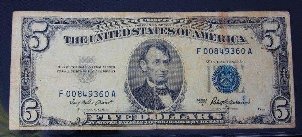 21: 1953 $5.00 Lincoln Silver Certificate PM429