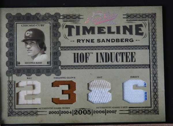 30: 2005 Prime Cuts Ryne Sandberg Bat, Glove, Hat & Jer