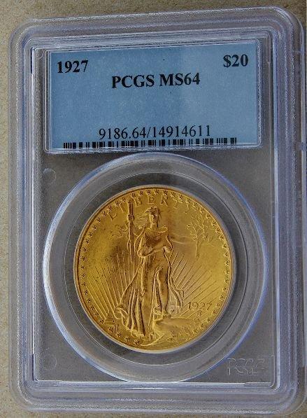 278: 1927 Saint Gaudens $20 Gold Coin MS64 GCDF189