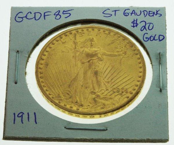 293: 1911 St. Gauden's $20 Gold Coin - GCDF85