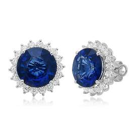 18k Gold 11.75CTW Blue Sapphire Earrings,