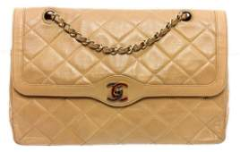 Chanel Vintage Beige Quilted Leather CC Double Flap Bag