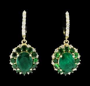9.71 ctw Emerald and Diamond Earrings - 14KT Yellow