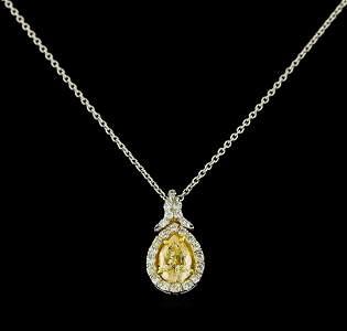 EGL USA Cert 1.28 ctw VS1 Fancy Yellow Diamond Pendant