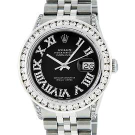 Rolex Mens Stainless Steel Black Roman Diamond Datejust