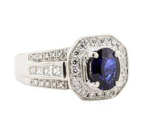 2.51 ctw Blue Sapphire And Diamond Ring - 18KT White