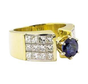3.18 ctw Blue Sapphire And Diamond Ring - 18KT Yellow