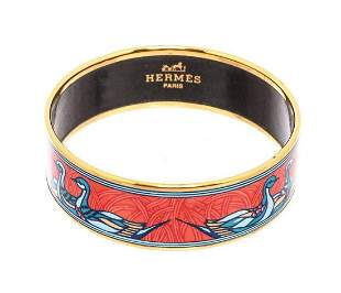 Hermes Orange Multicolor Enamel Gold Plated Duck Bangle