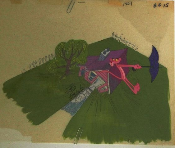 10: F. Freleng - Pink Panther Cartoon Cel Purple Umbrel