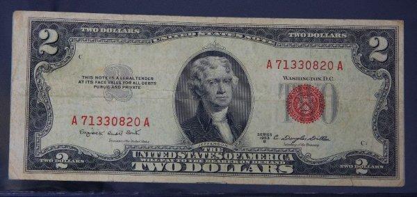 16: 1953 $2.00 Jefferson Red Seal Bill PM535