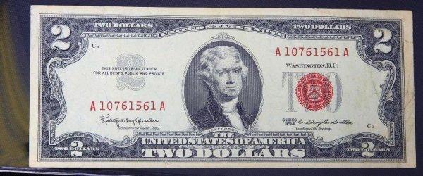 23: 1963 $2.00 Jefferson Red Seal Bill PM479