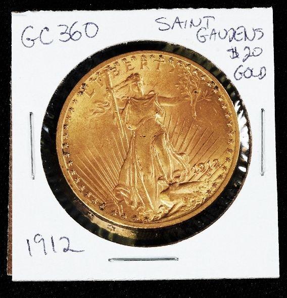 433: 1912 Saint Gaudens $20.00 Gold Coin GC360
