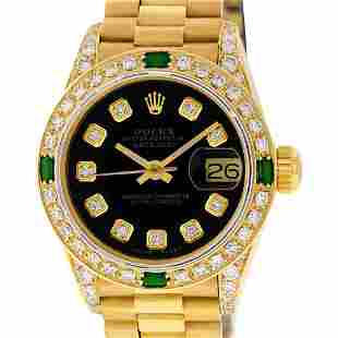 Rolex Ladies 18K Yellow Gold Black Diamond And Emerald